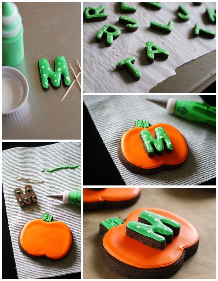 how to make monogrammed, double-decker pumpkin cookies