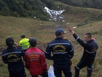 Rescuers near the wreckage of the LAMIA airlines charter plane
