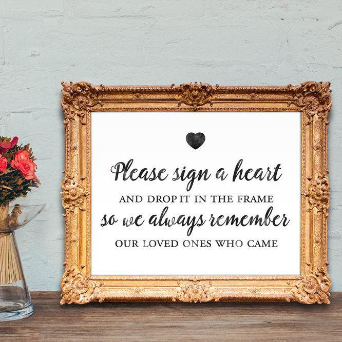 Wedding Guest Book Sign Please Sign A Heart And Drop It In The