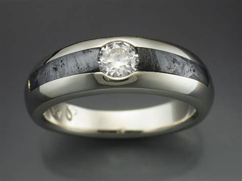 14k White Gold Ring with Huckitta Meteorite & Diamond