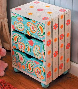 Stenciled Storage Crate