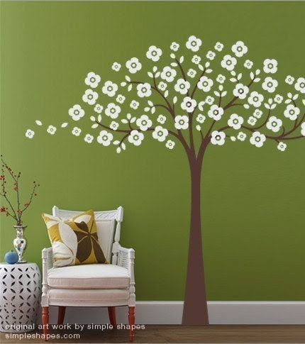 Cherry Blossom Tree Decal - Childrens Room Vinyl Wall Sticker