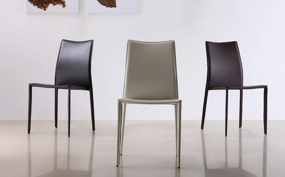 Marengo Leather Contemporary Dining Chair in Black Brown ...