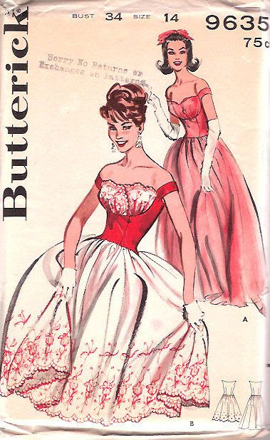 Vintage 50s 1950s SHELF BUST Dress Pattern Petal Bust UNCUT 34 bust Butterick 9635 size 14 Rockabilly Party Dress
