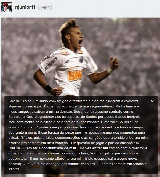 Fim do suspense: Neymar confirma que seu destino é o Barcelona