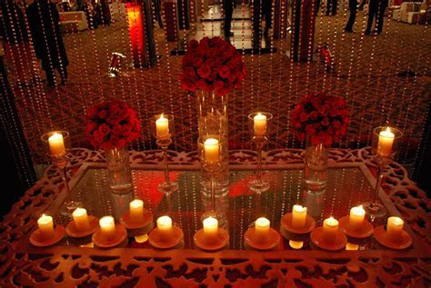 Red Side Table, Pakistani Wedding Stage Decoration Muslim