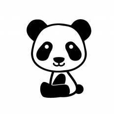 パンダの人形シルエット イラストの無料ダウンロードサイト