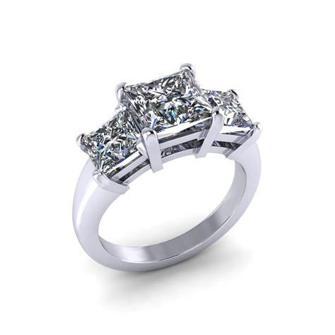 Princess Three Stone Engagement Ring   Jewelry Designs