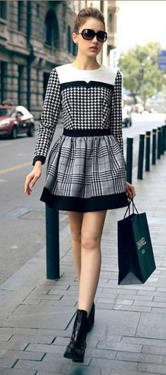 Color Block Houndstooth Dress   dresslily.com