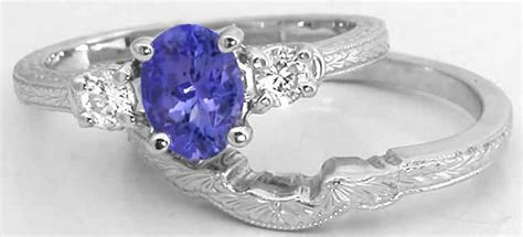 Tanzanite Engagement Ring with Engraved Wedding Band in