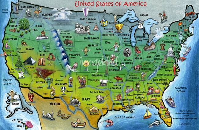 Cartoon Map Of Usa Googlesand - Cartoon-map-of-the-us