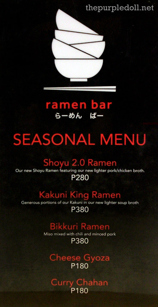 Ramen Bar's Seasonal Menu
