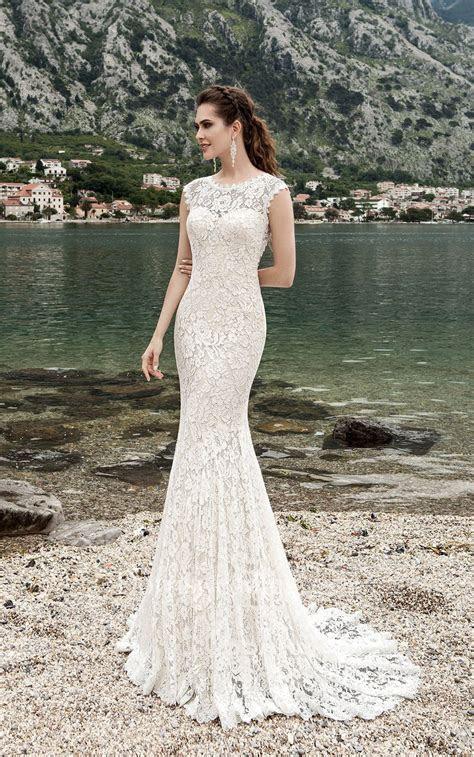Sheath Long Jewel Neck Cap Sleeve Keyhole Lace Dress With