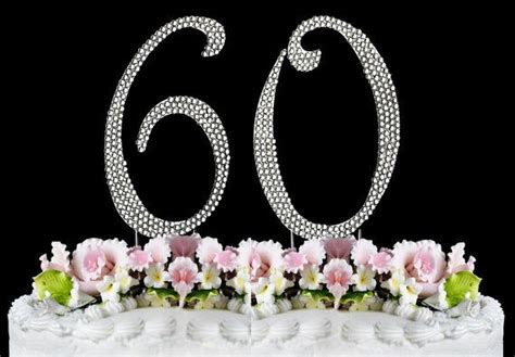 New Large Rhinestone NUMBER (60) Cake Topper 60th Birthday