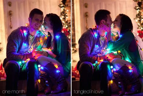 """""""Tangled in Love"""" Cute Couple Christmas Lights Pictures"""