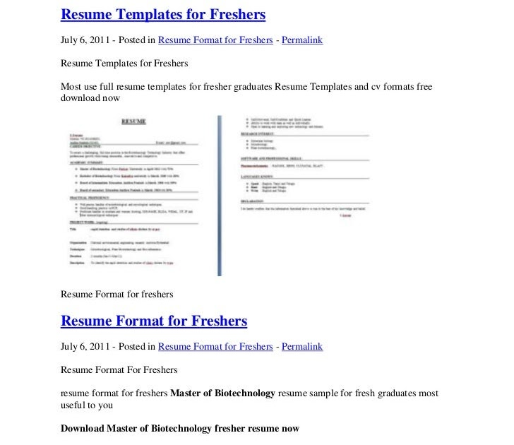 how to write resume title for freshers