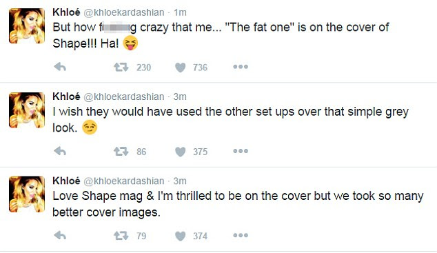Complaints, she's got a few: But Khloe did eventually acknowledge her achievement in fronting the magazine