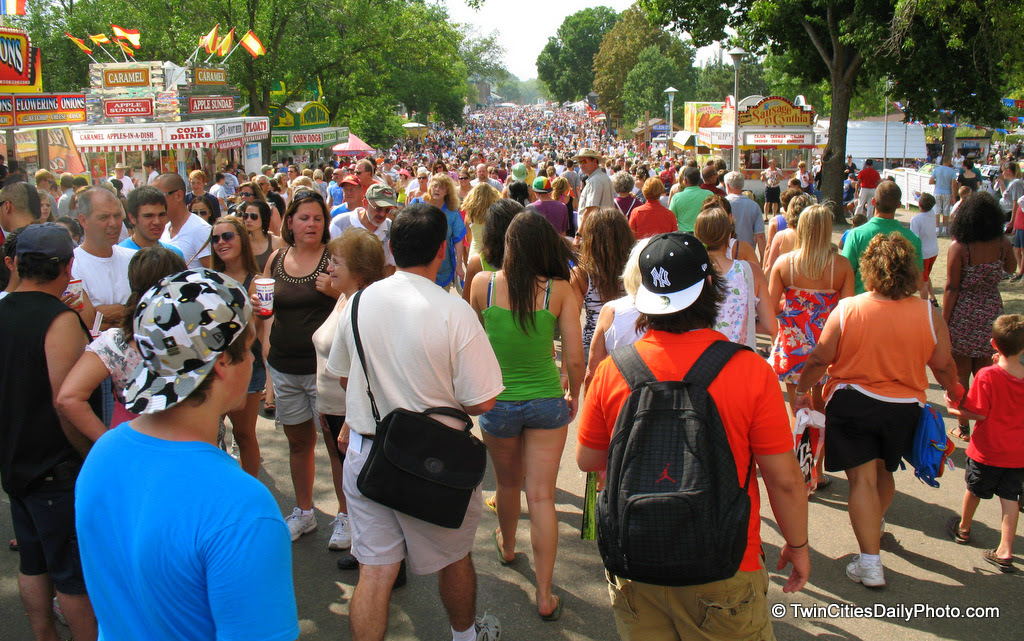 The great Minnesota get together runs from August 26 through Labor Day, September 6. In 2009, the MN State Fair set an attendance record with 1,790,497 people visiting the grounds.