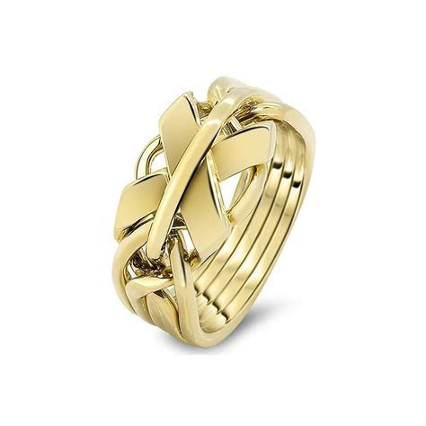 Mens Gold 5FX M   Puzzle Rings Creations