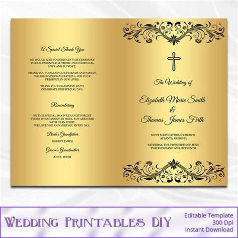 Catholic Wedding Program Template, Diy Black and Gold Foil