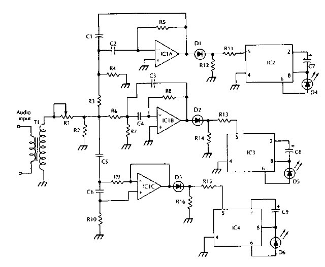 Lm3909 Ic Bassed Color Organ Electronic Project