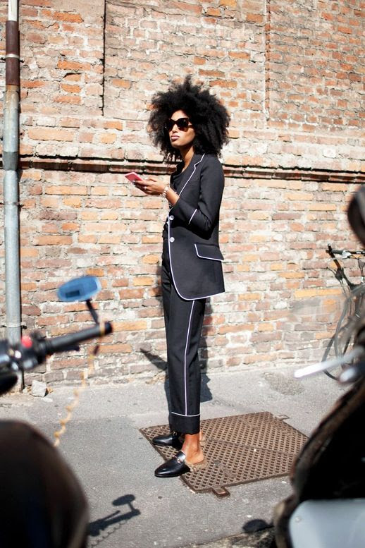 Le Fashion Blog Street Style Mfw Editor Julia Sarr Jamois Sunglasses Black Pajama Inspired Suit Gucci Fur Lined Mule Flats Via ASOS