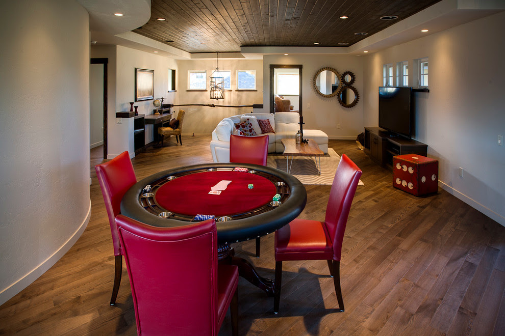 Chic Poker Tables For Sale In Family Room Transitional With Mirror Hanging Next To Live Edge