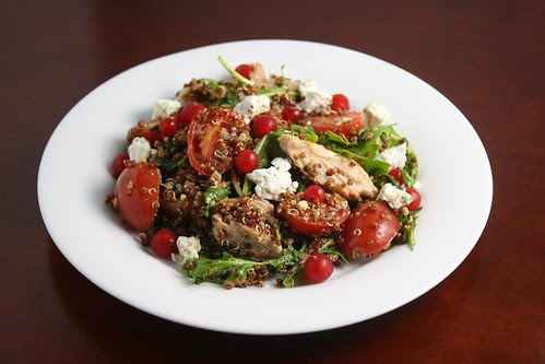 Pesto Quinoa with Tomatoes, Chicken, Arugula and Red Currants