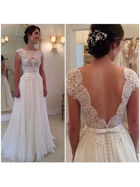 Lace Appliques Bodice Chiffon Low V Back Wedding Dresses