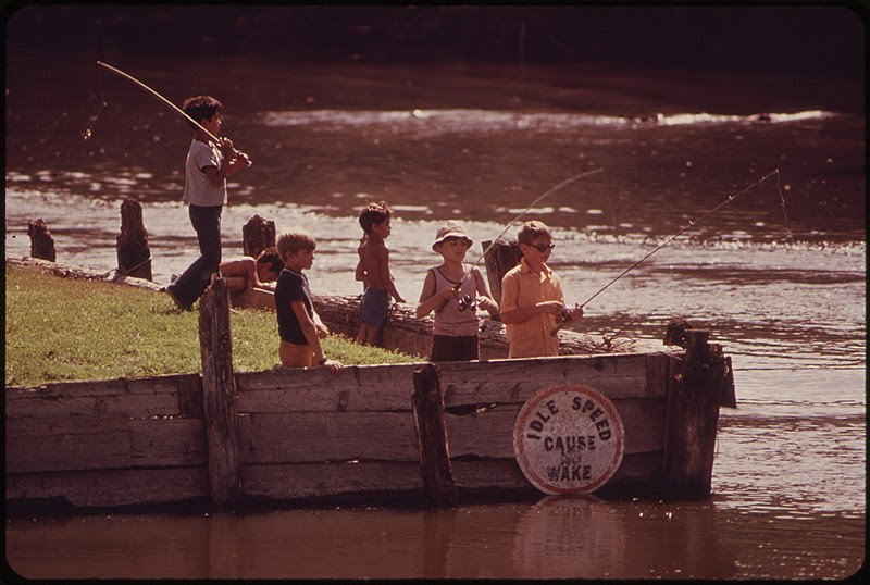 File:YOUNGSTERS FISHING AT WISCONSIN DELLS ON THE WISCONSIN RIVER - NARA - 550776.jpg