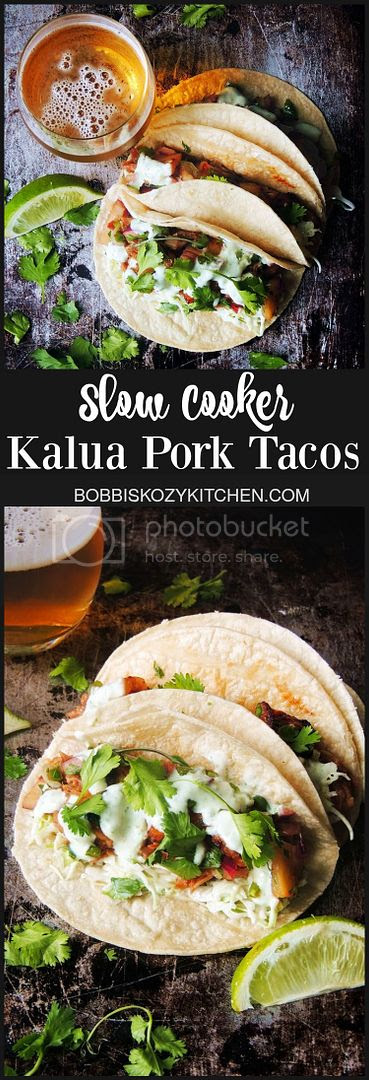 Slow Cooker Kalua Pork Tacos - Tender juicy pork, in a Hawaiian inspired sauce, wrapped in a warm corn tortilla. From www.bobbiskozykitchen.com