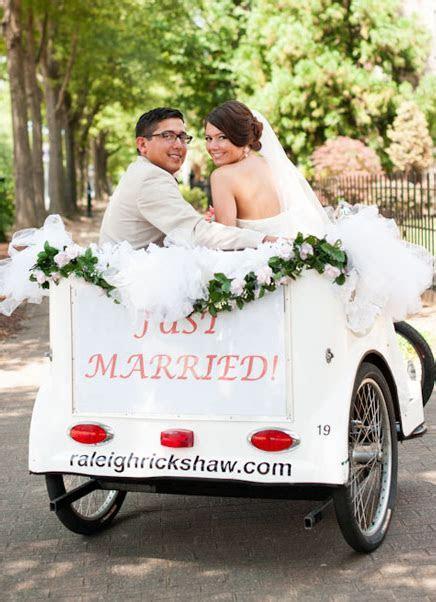 Wedding rickshaw just married car aj dunlap raleigh, nc