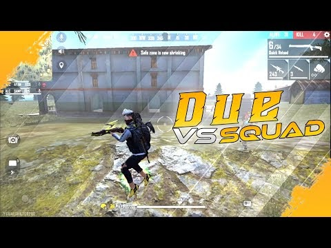 Free Fire Gameplay - Due vs Squad - INSANE KILLER