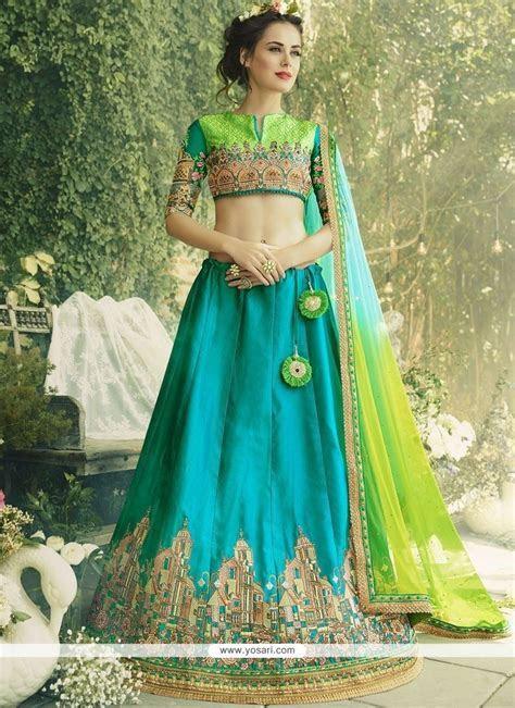 Buy Blue And Sea Green Lehenga Choli   Wedding Lehenga Choli