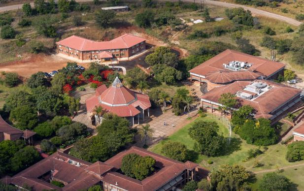 An aerial view of Africa University, located in Mutare, Zimbabwe, shows the central area of the campus, with the chapel and library. Photo courtesy of Africa University