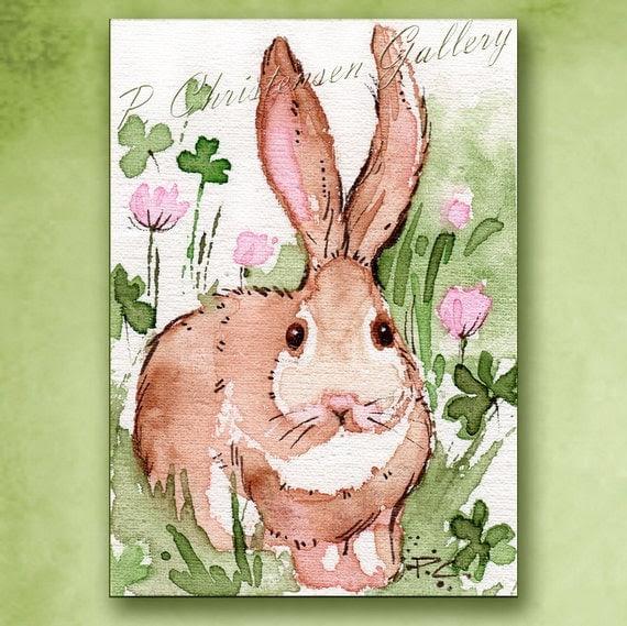ACEO Irish Ireland Bunny Rabbit Shamrock Green Grasses - FREE Shipping