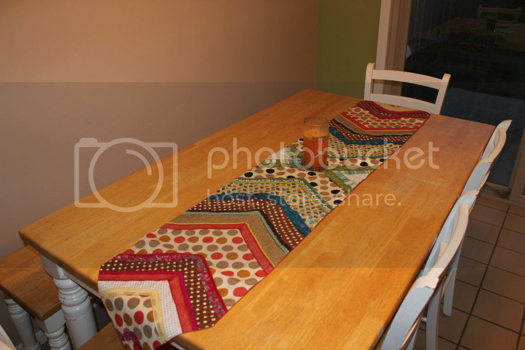 Pier 1 table runner with Farmhouse Kitchen table