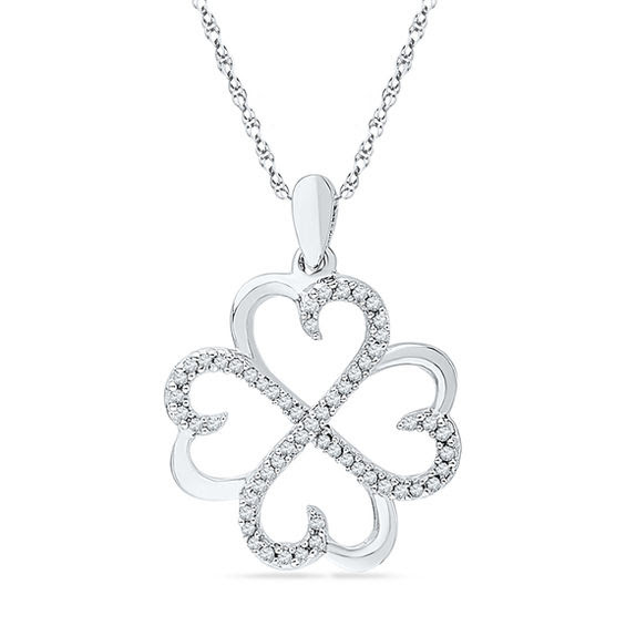 15 Ct Tw Diamond Four Leaf Clover Pendant In Sterling Silver