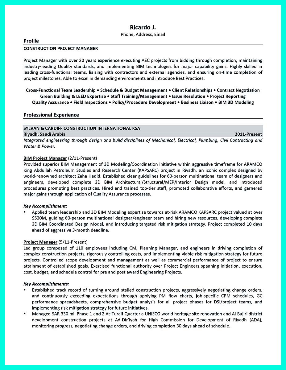 construction manager resume objective examples