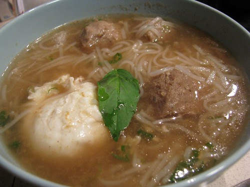 Pho is the best thing when you are sick.  I poached an egg in mine as it boiled.