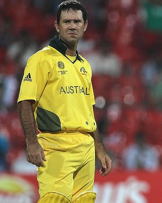 Ricky Ponting of Australia looks on at the drinks break.