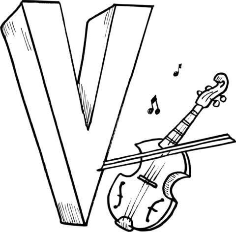 Disegno Di La Lettera V Sta Per Violin Da Colorare Disegni Da