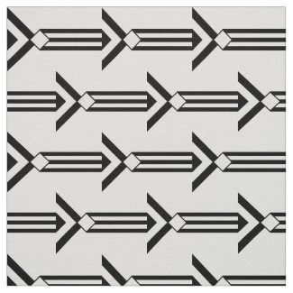 Black Stripes and Chevrons on White Fabric