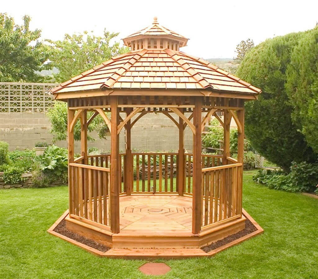 14 Cedar Wood Gazebo Designs - Octagon, Rectangle, Hexagon