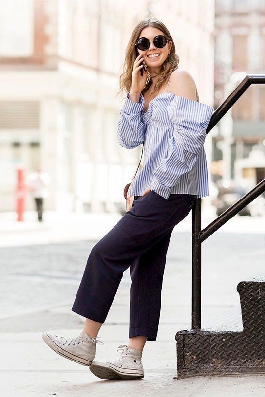 Le Fashion Blog Street Style Round Sunglasses Striped Off The Shoulder Top Cropped Trousers High Top Converse Sneakers Via Garance Dore