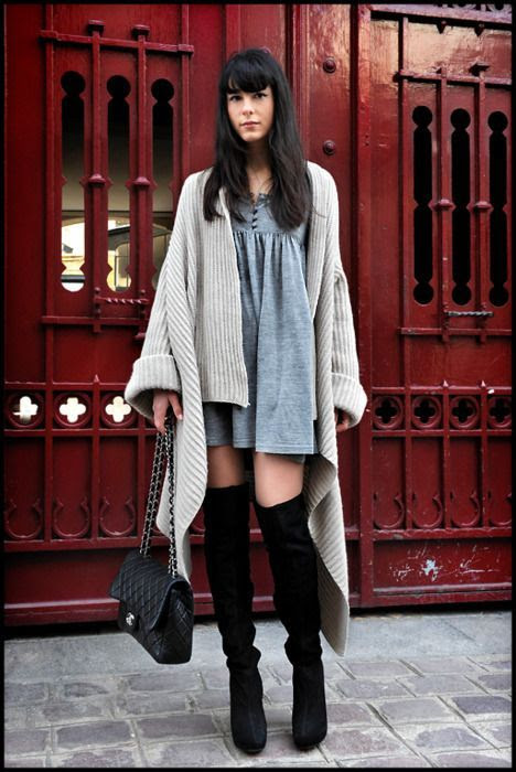 How to Wear over the knee boots with a dress