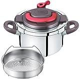 T-fal 圧力鍋 「クリプソ アーチ」 ワンタッチ開閉 IH対応 パプリカレッド 4L P4360432