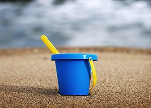 Sand bucket on the beach of Punta del Este, Ur...