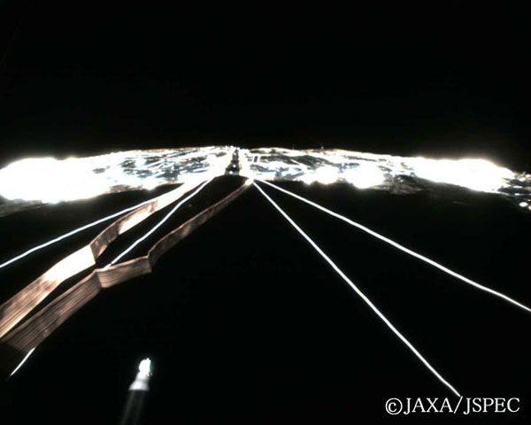 IKAROS' solar sail as seen from monitoring camera #1.
