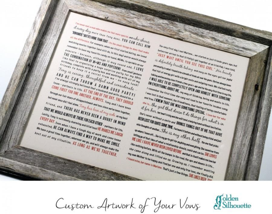 Framed Wedding Vows Rustic Barnwood Frame One Year Anniversary